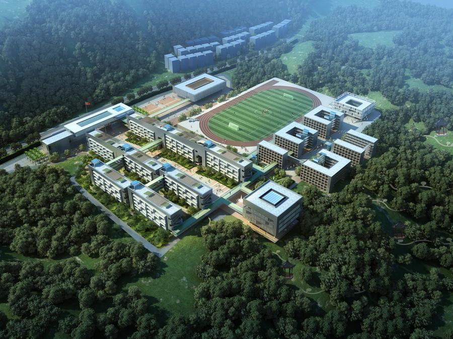 项目位于深圳市大鹏新区葵涌街道溪涌片区,占地面积10万平方米,项目规模6.8万平方米,完工后将是大鹏新区的第一所高级中学。 该项目的启动,为探索符合深圳的绿色低碳模式、建设创新和谐的校园提供了良好的契机。 传统固定的教学模式单一,缺乏有机互动性,中学作为文化的传承和教育基地起点,更应该提倡交流和共享,激发学生自己的创造力和想象力。因此,一个注重开放、交流、生长、绿色、生态的社区型中学是此次实践的主要思考。 规划设计从场地自然环境诊断入手,教学区布置在日照充沛、地势较高的南部,形成主要教学轴线;生活区布置于