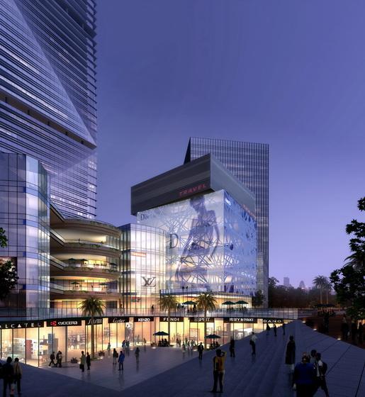 项目用地呈矩形,较规则,地势南高北低,最大处高差近7米。地块北接城市快速干道东莞大道,是项目面对城市的主要形象展示面,用地南侧可远眺黄旗山公园,有较好的景观视野。项目用地面积不大,规划规定的塔楼及裙楼可建范围较局促,对规划布局限制较大,与甲方希望突出项目体量与气势的愿望有一定矛盾,因此如何充分利用用地,尽可能突出项目,塑造形象鲜明的建筑群体是本案的首要考量重点。